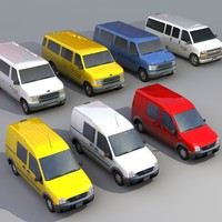 passenger vans trucks vehicles 3d 3ds