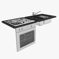 kitchen oven rangehood sink gas cooktop mixer