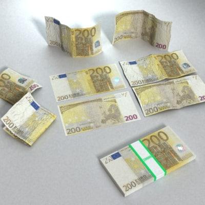 200 Euros Banknote 3d Model