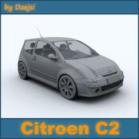 citroen c2 3d model