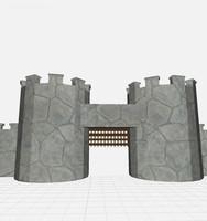 free obj model medieval wall