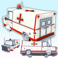 3d emt ambulance van car wheels model