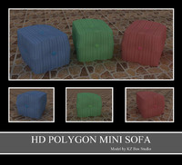 mini sofa 3d 3ds