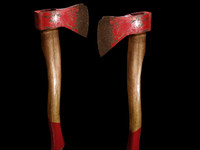 3d photorealistic red axe hatchet model