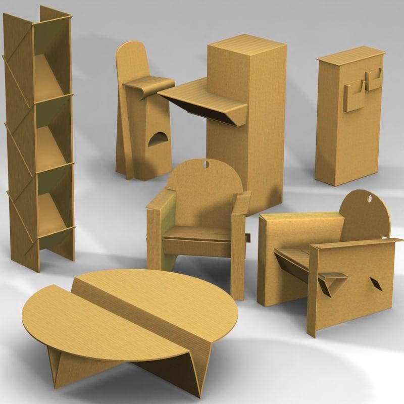 Cardboard Furnitures Set Armchair Table 3d Model