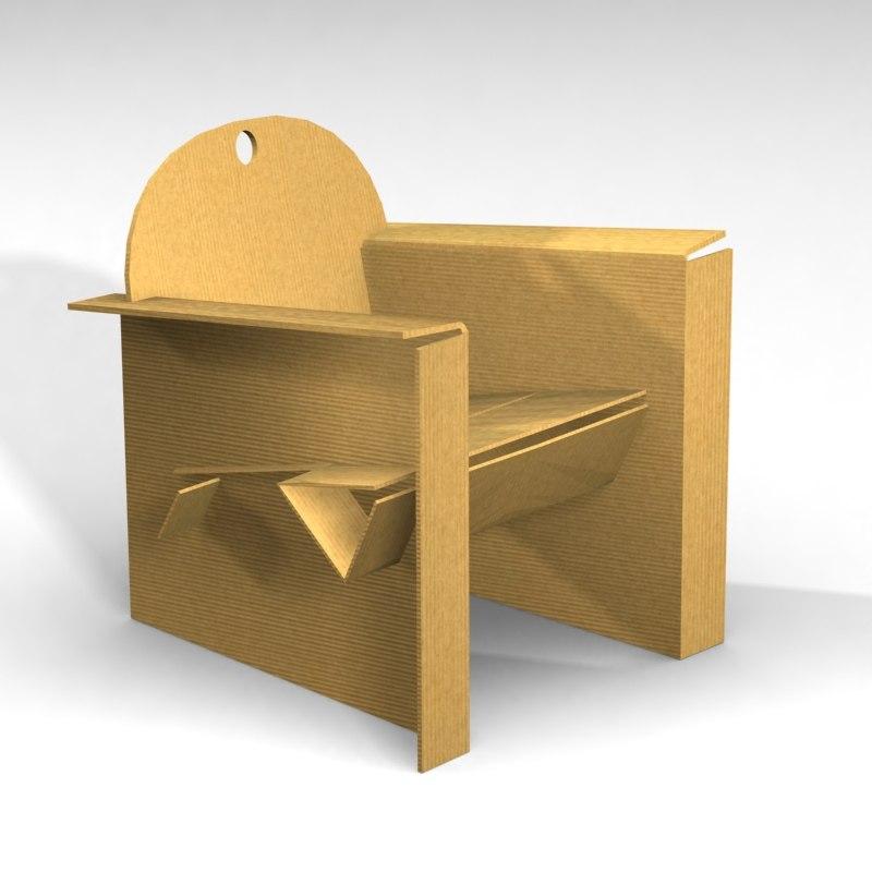 Cardboard armchair 3d model for Sessel 3d dwg