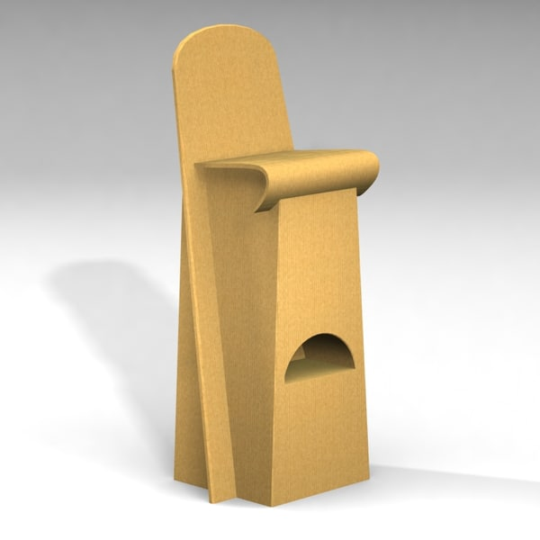 cardboard furnitures set armchair table 3d model - Cardboard Furnitures Set... by InfinityStudio