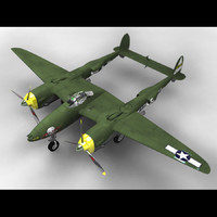 p-38 lightning lockheed 3d model
