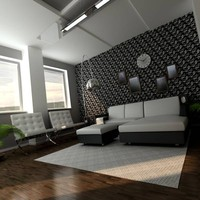 3d model of sunset livingroom