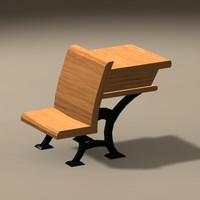 Low Poly Western 1800s School Desk Chair Combo