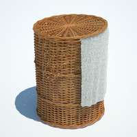 wicker washing basket 3d model