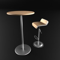 set bar chair table 3d model