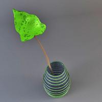 green vase accessory 3d model