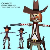 cowboy character games 3d obj