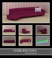 50015 Dark Red Long Sofa