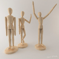 wooden manequin 3d model