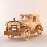 3d model wood cartoon car toy