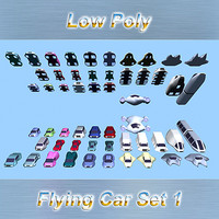 Low Poly Flying Car Set 1