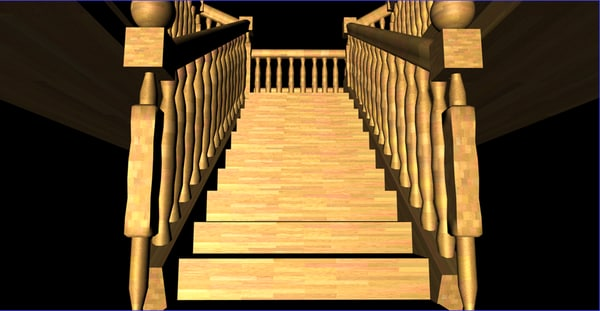 staircase second floor 3d model - banisters1.1... by danheadcharge