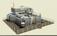 science fiction space station 3d model