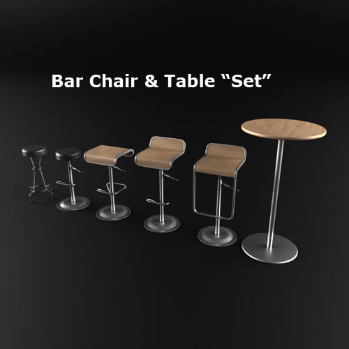 Set bar chairs table 3d model for Barhocker 3d model