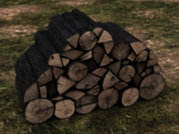 firewood pile polygons 3d model