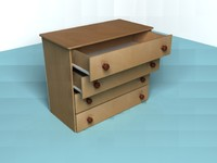 3ds wooden small chest drawers