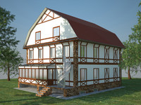 3d three-storey cottage model