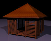 3d model arbour wood garden