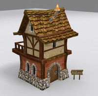 3d medieval fantasy country house model