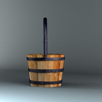 pail wood wooden 3d model