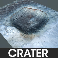 crater meteor terrain 3d model
