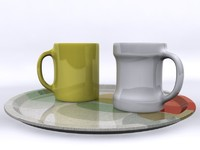 Coffee Mugs & Plate