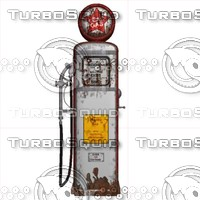 3d obj old gas pump