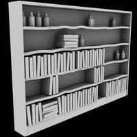 3d old bookshelf model