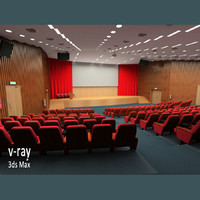 pre-lit scene commercial auditorium 3d model