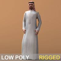 3d arab man character rigged model