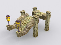 3d model medieval fantasy building stone