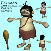3d caveman character games model