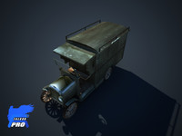 3d old retro truck car model