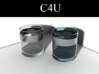 3d 2 lowball glasses whiskey model