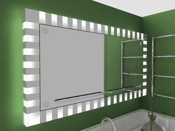 Bathroom furniture table mirror 3d model - Model deco wc ...