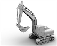 cartoon excavator 3d model