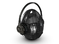 metal egg with headphone