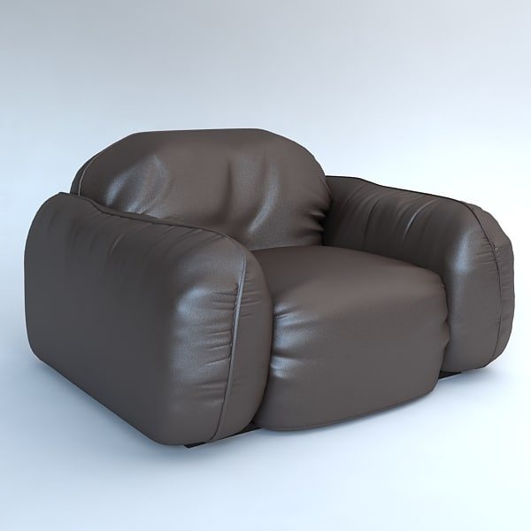 Leather armchair Piumotto by Busnelli