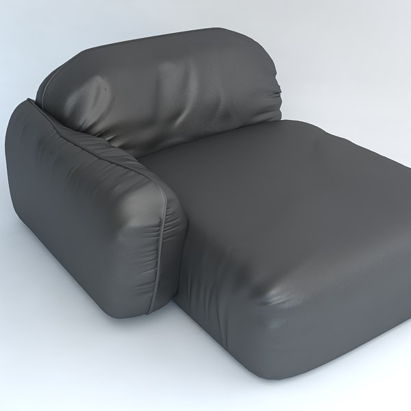 Leather armchair chaise lounge Piumotto by Busnelli, Italy