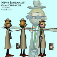 news reporter man character 3d model