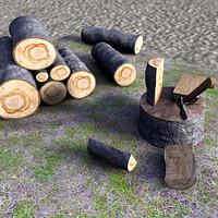 troncos cortados y hacha max