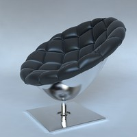 Pod chair quilted leather upholstery
