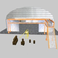 3d model of aircraft hangar kit